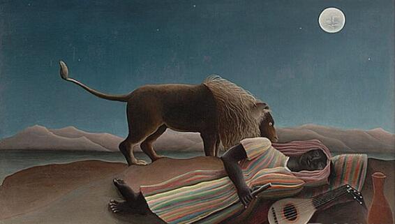 画面的构成是从水罐,乐器,少女,狮子翘起的尾巴,经过星星,到月亮,再随