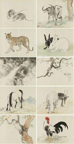 《十二生肖册》里的动物按生肖次序排列
